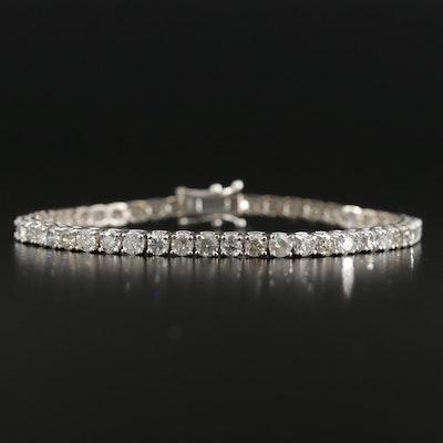 14K White Gold 6.64 CTW Diamond Prong Set Line Bracelet