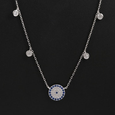 Sterling Cubic Zirconia and Synthetic Spinel Evil Eye Station Necklace
