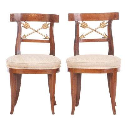 Pair of Italian Parcel-Gilt Fruitwood Side Chairs, Early 19th Century