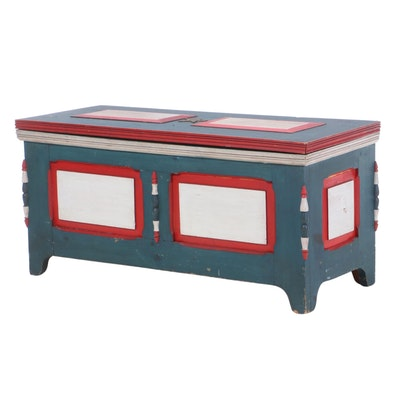 Victorian Red, White and Blue Painted Blanket Chest, Late 19th Century