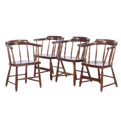 Four Poplar Captain's Chairs, Mid-19th Century
