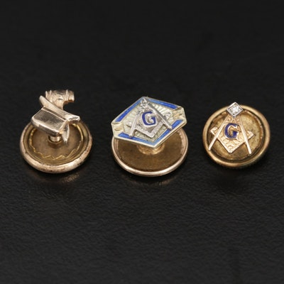 14K Yellow Gold and Enamel Lapel Pins Including Diamond