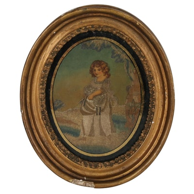 Early Victorian Needlework Pastoral Silk Picture, Mid 19th Century