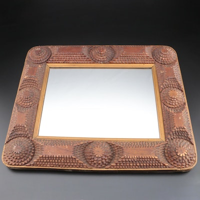 Hand-Notched Tramp Art Wood Frame Mirror, Early to Mid 20th Century