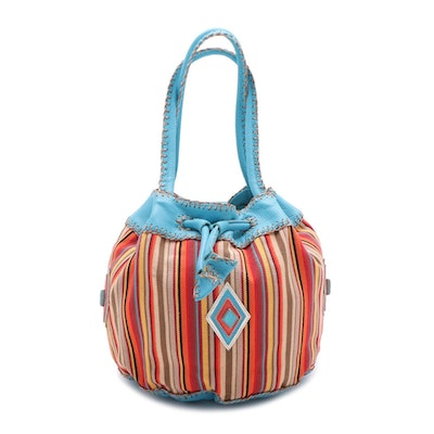 Carlos Falchi Handcrafted Bucket Bag in Multicolor Striped Canvas and Leather