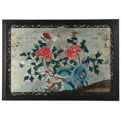 Antique Chinese Mirrored Reverse Painting on Glass, Late 19th Century