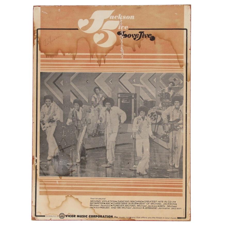 """The Jackson Five"" Michael and Joe Signed ""Love Jive"" Album Poster, JSA Letter"