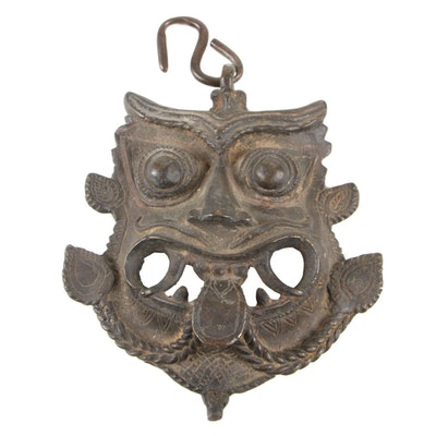 Nepalese Buddhist Bronze Protection Mask or Wall Hanging