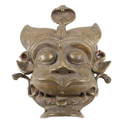 Nepalese Buddhist Gilt Bronze Protection Mask