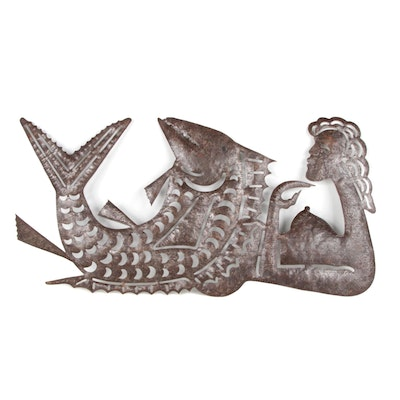 Serge Jolimeau Haitian Metal Relief Sculpture of Woman with Fish