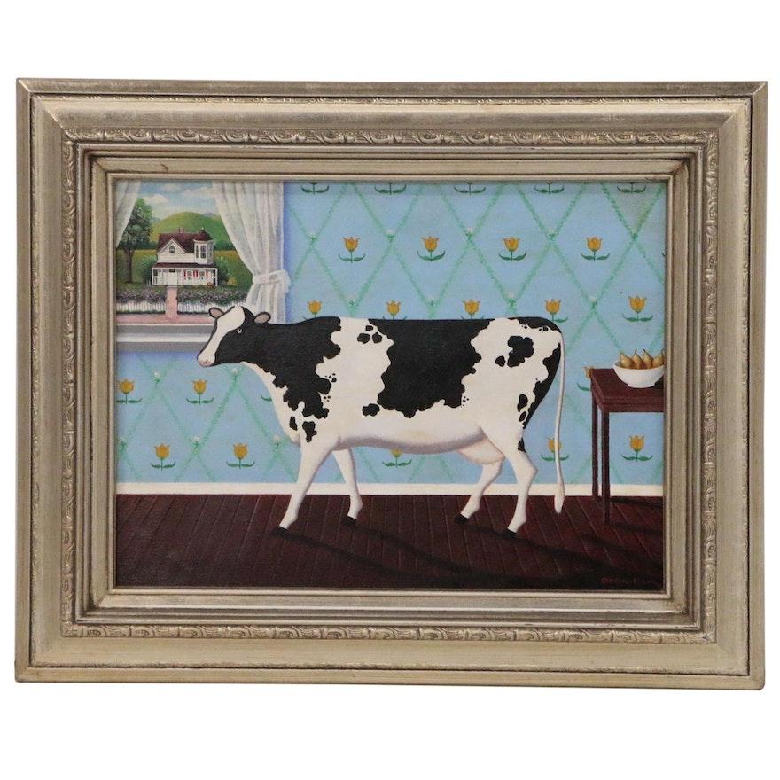 Steven Klein Folk Art Oil Painting of Cow in Interior