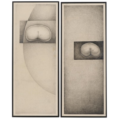 """Abstract Graphite Drawings """"Glans 1"""" and """"Glans 2"""""""