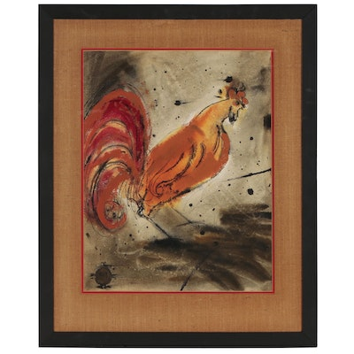 Joni T. Johnson Folk Art Watercolor Painting of Rooster
