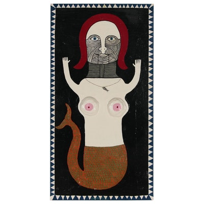 "Levent Isik Mixed Media Folk Art Painting ""The Merm-aid"""