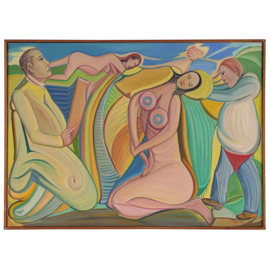 """Louis Monza Abstract Figural Oil Painting """"In Our Times"""", 1961"""