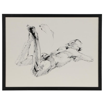 John Tuska Figural Ink Drawing of Male Nude