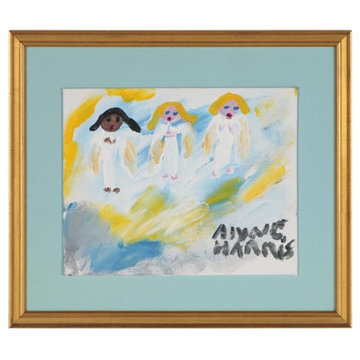 "Alyne Harris Folk Art Acrylic Painting ""Angel Trio"""