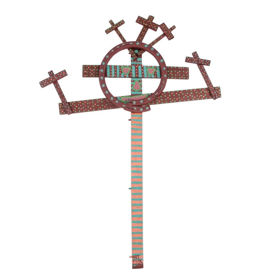 Catfish Man Monumental Hand Painted Folk Art Wood Assemblage Cross