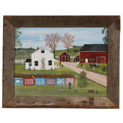 "Ben King Acrylic Folk Art Painting ""Quilt Sale"""