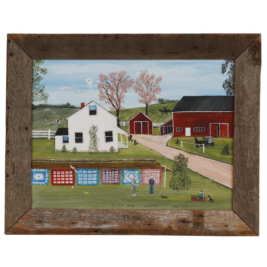"Ben King Acrylic Folk Art Painting ""Quilt Sale"""