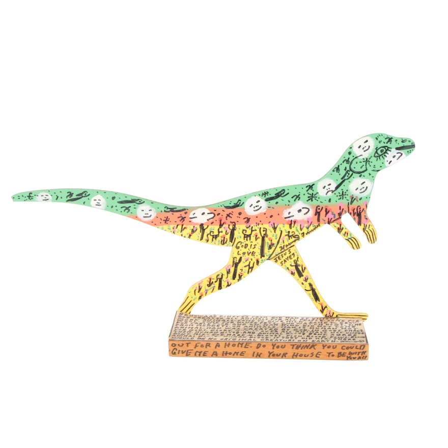Howard Finster Folk Art Wood Cut-Out Sculpture of Dinosaur