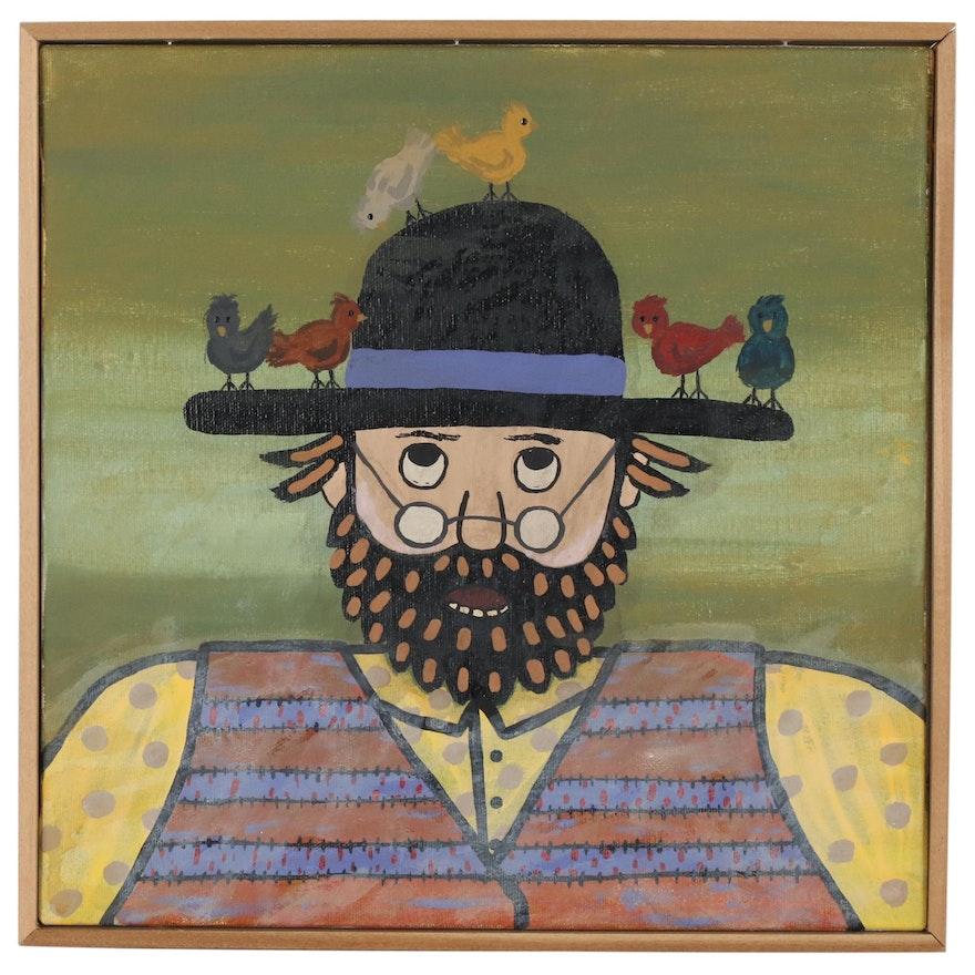"Tom McKittrick Folk Art Painting  ""Bird Brains"""