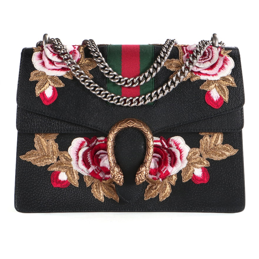 Gucci Embroidered Black Leather Medium Web Dionysus Bag