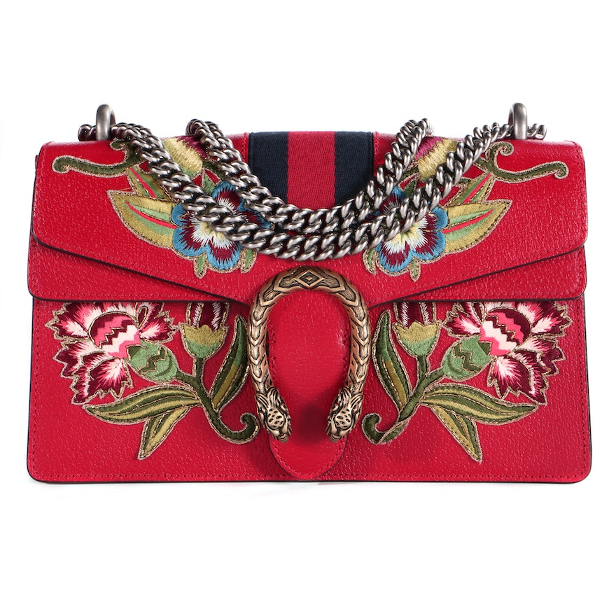 Gucci Embroidered Red Leather Web Small Dionysus Bag