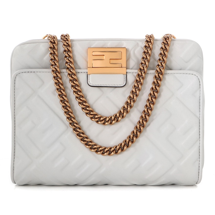 Fendi White Zucca Embossed Leather Upside Down Convertible Bag