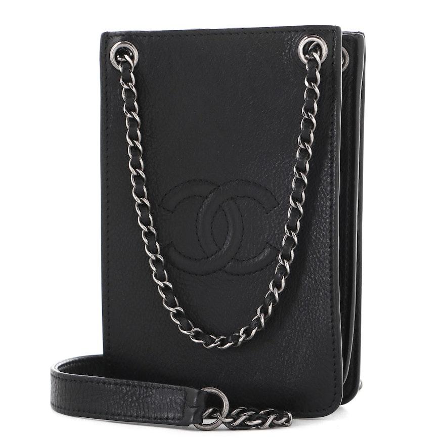 Chanel Black Leather CC Phone Holder Crossbody Bag