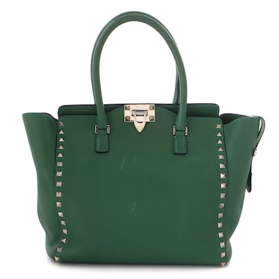 Valentino Green Leather Rockstud Tote