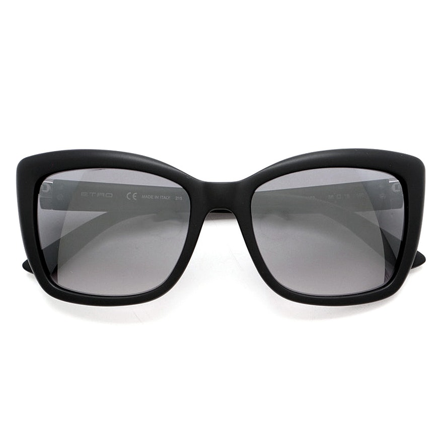 Etro Matte Black Butterfly Style Sunglasses