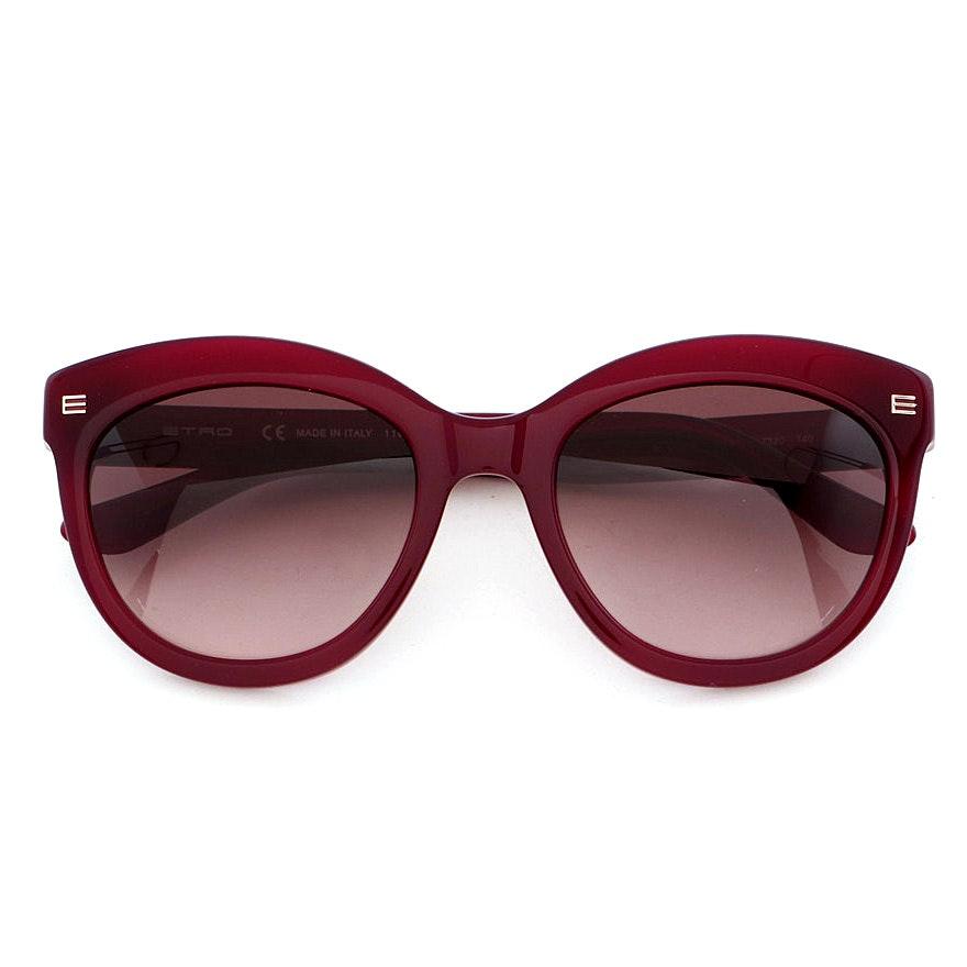 Etro Burgundy Modified Cat Eye Sunglasses