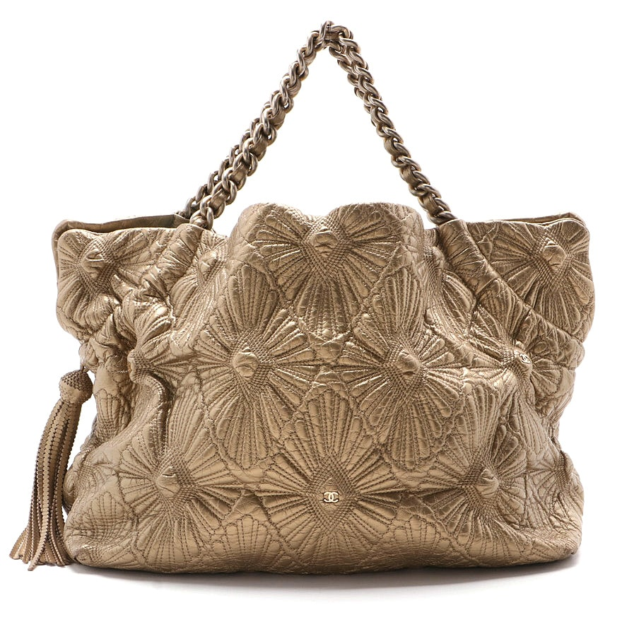 Chanel Quilted Metallic Lambskin Large Ca D'Oro Tote with Tassel