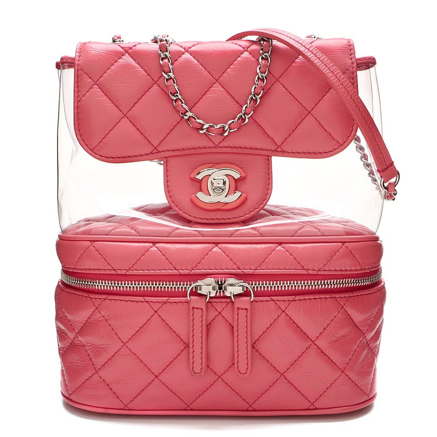 Chanel Pink Quilted Crumpled Calfskin and PVC Small Zip Around Flap Bag