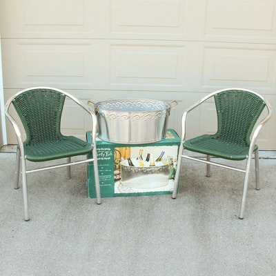 Woven Resin Stacking Chairs and Metal Party Tub