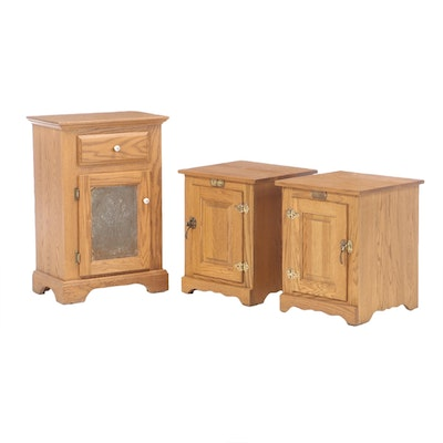 Oak Cabinet and Pair of White Clad End Tables, circa 1970