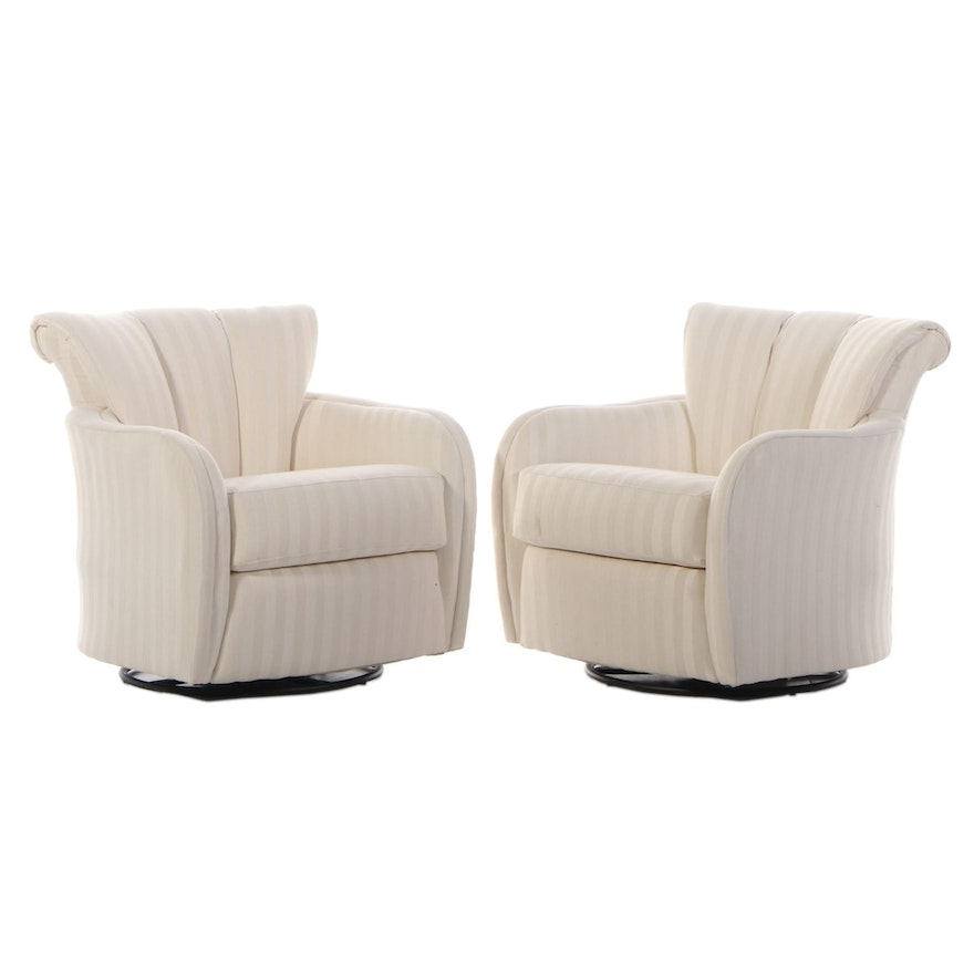 Pair of Contemporary Upholstered Swivel Rocking Armchairs for Sofa Express