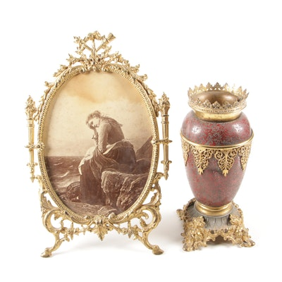 Brass Mounted Metal Vase and Reproduction Print after von Bremen