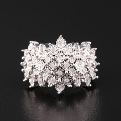 Sterling Silver Diamond Illusion Ring