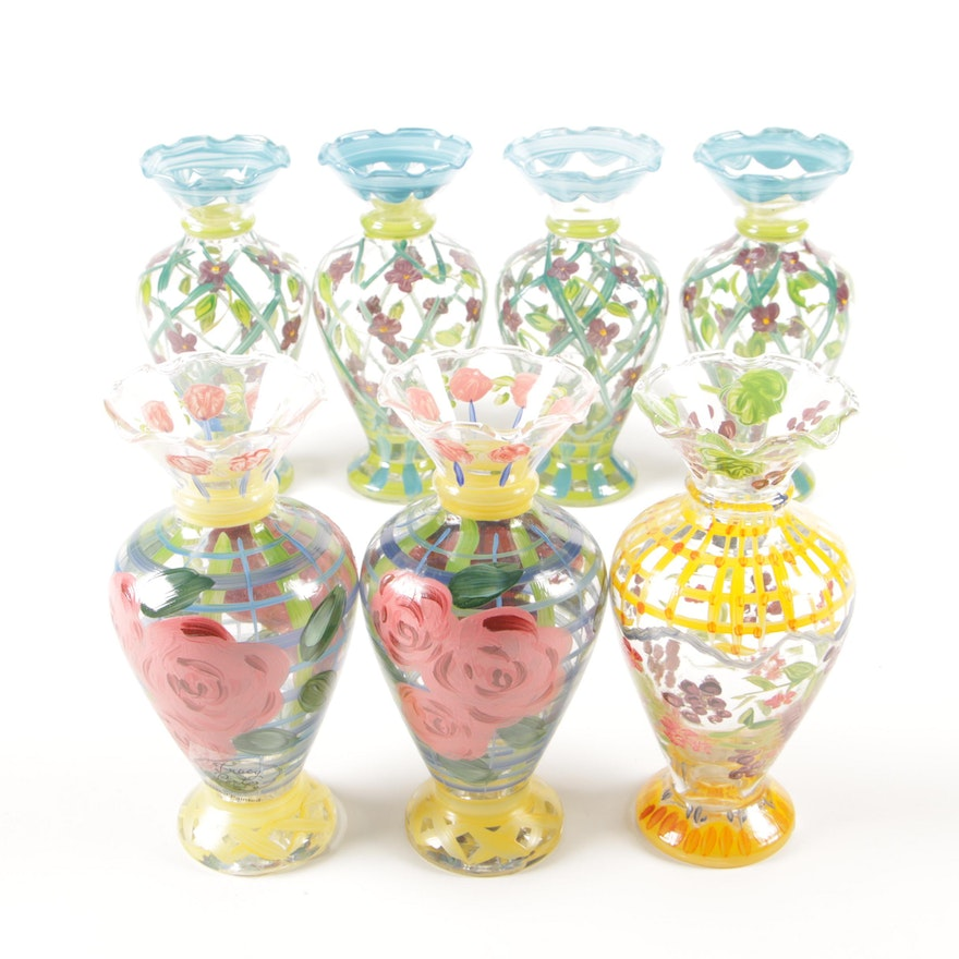 Tracy Porter Hand-Painted Glass Vases