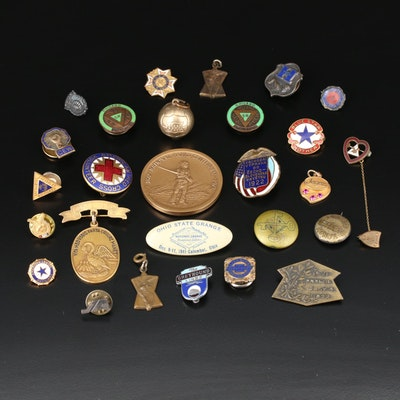 Collection of Vintage Service Pins and Commemorative Medals