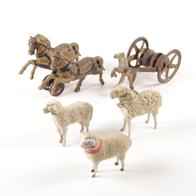 Cast Iron Toy Working Horses with Sheep Figurines, Late 19th-Early 20th Century