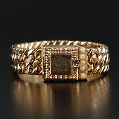 "Circa 1940's Speidel ""Sweetheart"" Locket Bracelet Featuring Imitation Pearl"