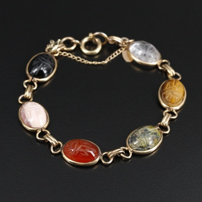 Circa 1950's Russel Creations Gold Filled and Gemstone Scarab Bracelet