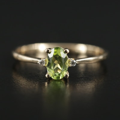 14K Yellow Gold Peridot and Diamond Ring