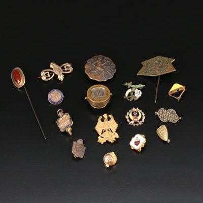 Lapel and Stick Pins Including Shriner, Carnelian, Victorian and Vintage Pieces