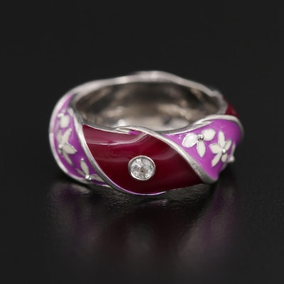 Sterling Silver Enamel and White Topaz Floral Motif Ring