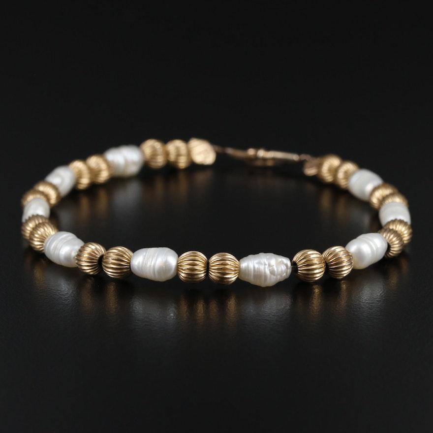 Vintage Gold Filled Pearl Bracelet