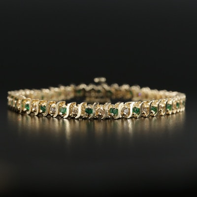 14K Yellow Gold Alternating Emerald and Diamond Line Bracelet